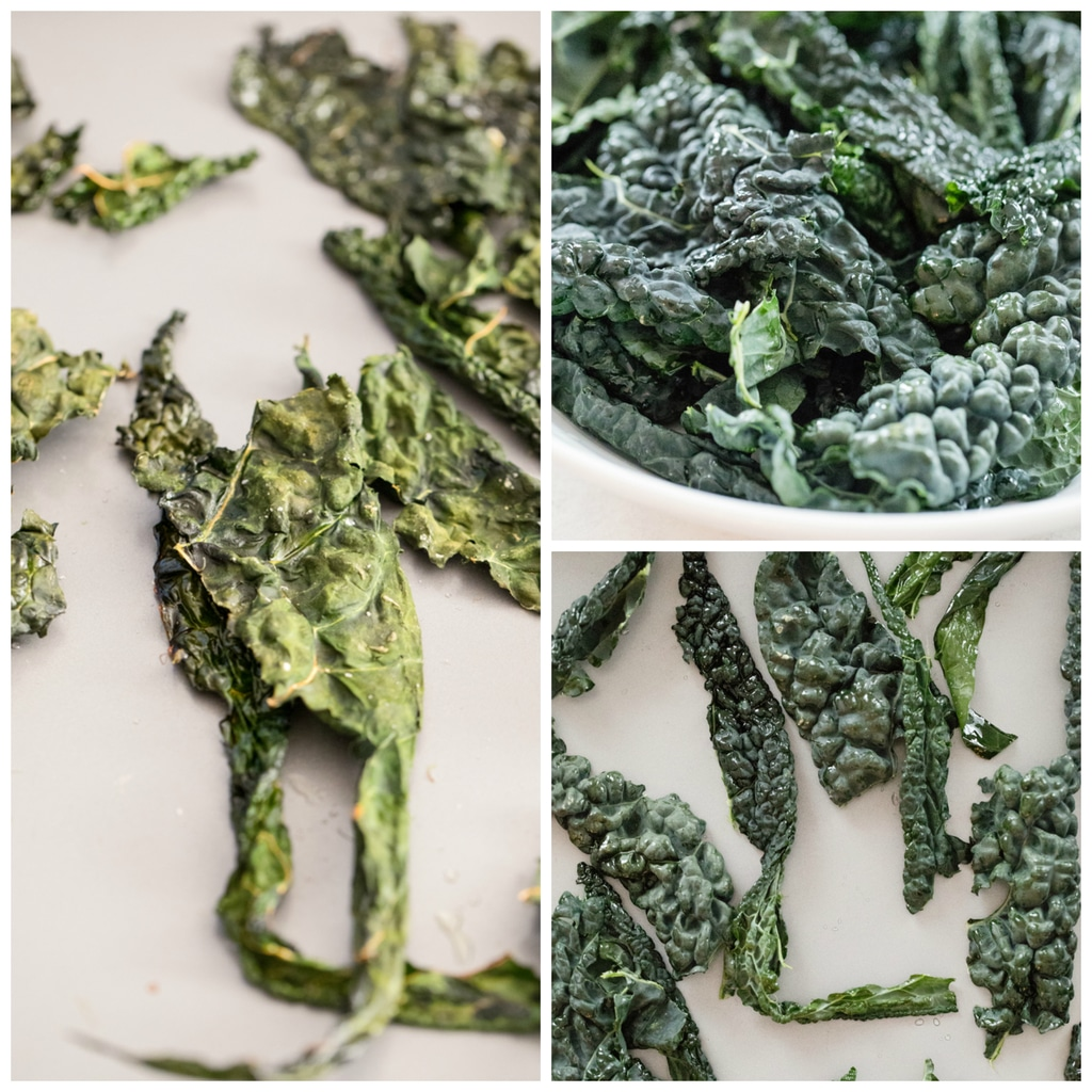 Collage of process for oven roasting kale for crispy kale chips