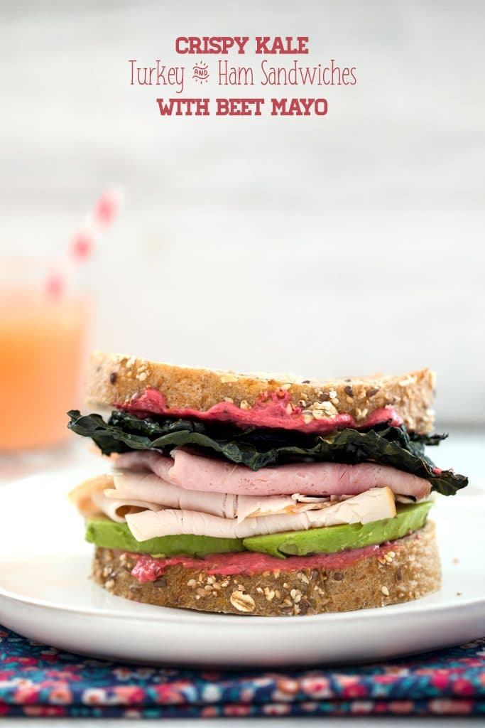 Crispy Kale Turkey and Ham Sandwiches with Beet Mayo -- These sandwiches contain all the components of a perfect sandwich: Great bread, a delicious spread, a little crunch, and really good natural deli meat | wearenotmartha.com