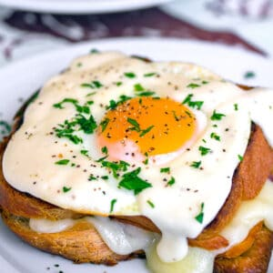 The Croque Madame (AKA grilled ham and cheese sandwich with mornay sauce and egg) is the ultimate breakfast. This Thomas Keller Bouchon version is everything! | wearenotmartha.com