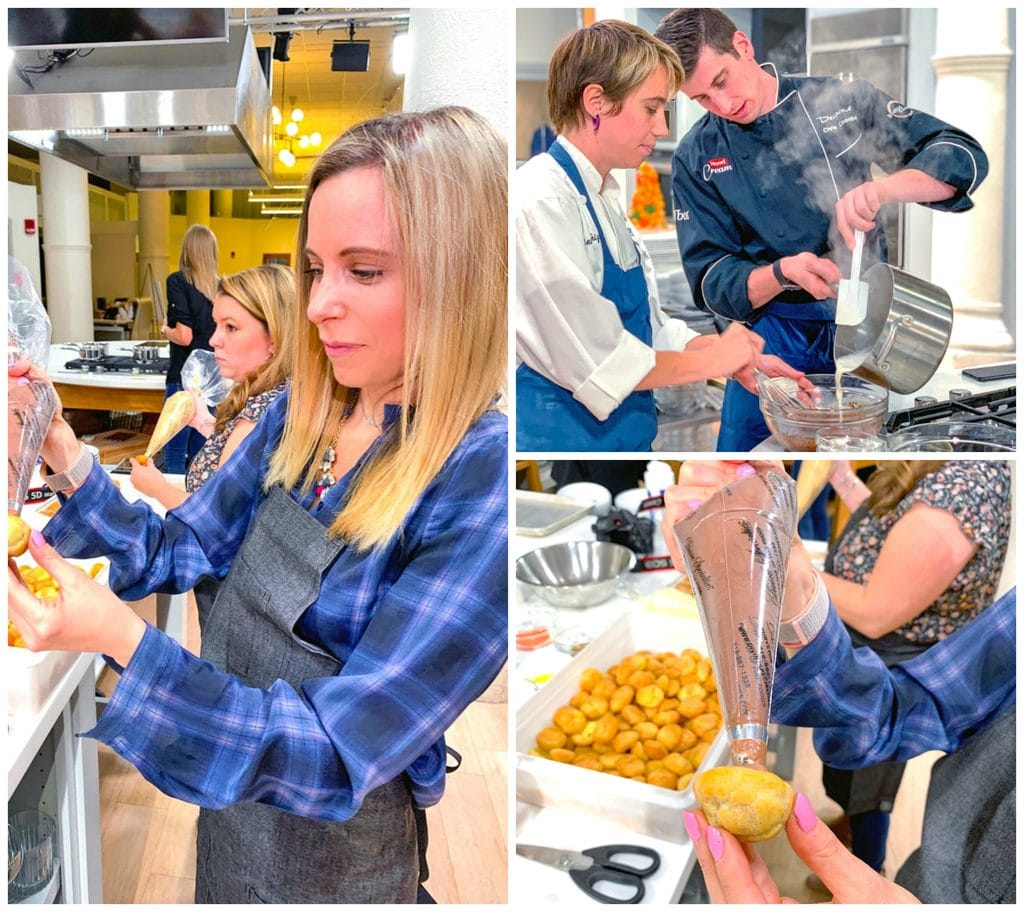 Collage showing Sues at Hood Cream cooking event, filling cream puffs for croquembouche and a photo of Chef Chis Coombs pouring hot cream into chocolate mixture