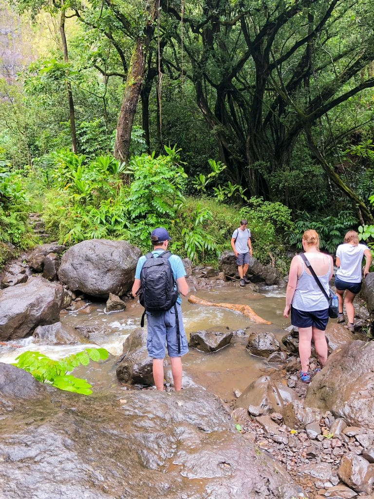 Crossing the stream to get to Waimoku Falls on Pipiwai Trail