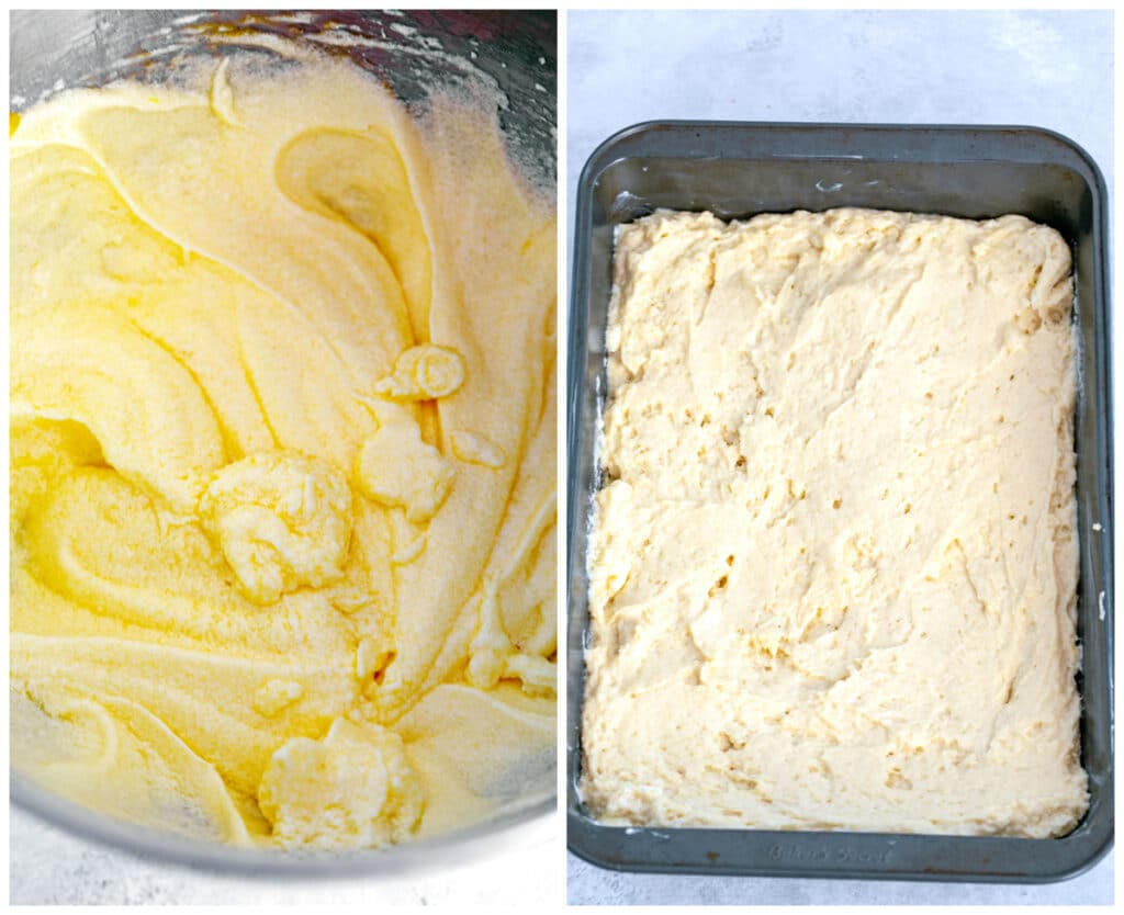 One photo showing classic crumb cake batter in mixing bowl and one of crumb cake batter spread in baking pan