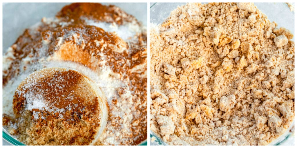 One photo of crumb topping ingredients in bowl and another photo of crumb topping ingredients all mixed together with large clumps