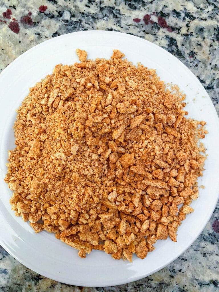Small plate of crushed Cinnamon Toast Crunch ceral