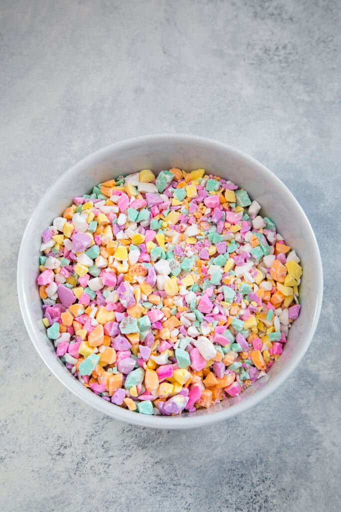 Conversation Hearts crushed in bowl