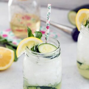 Cucumber Collins -- A twist on the classic tom collins cocktail adds one simple ingredient: cucumber! This refreshing Cucumber Collins will quickly become your go-to summer cocktail | wearenotmartha.com