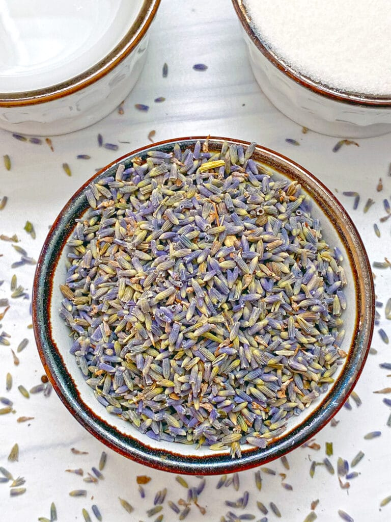 Overhead view of fried lavender in small bowl