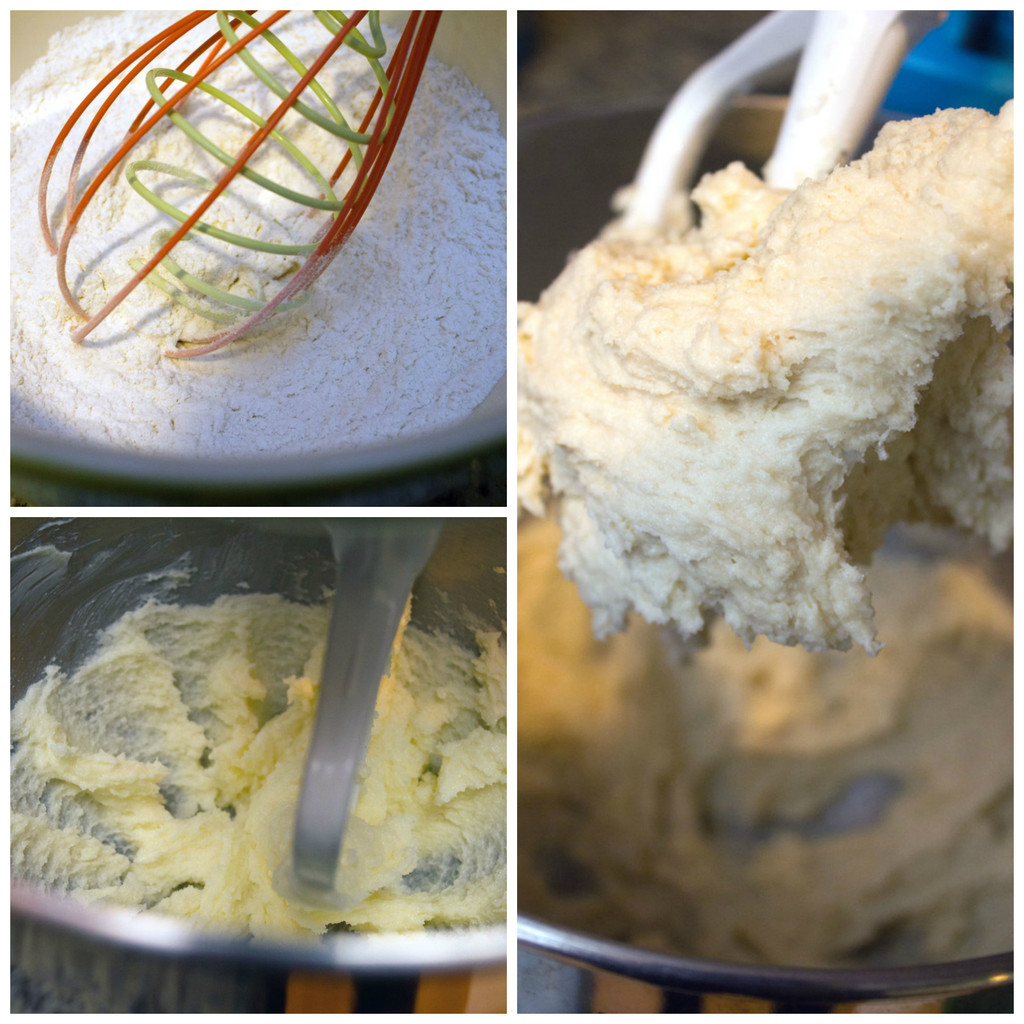 a collage showing the making of the batter for Rainbow Sherbet Cupcakes, including dry ingredients whisked in mixing bowl, butter and sugar creamed together in mixer, and cupcake batter mixed together in mixer