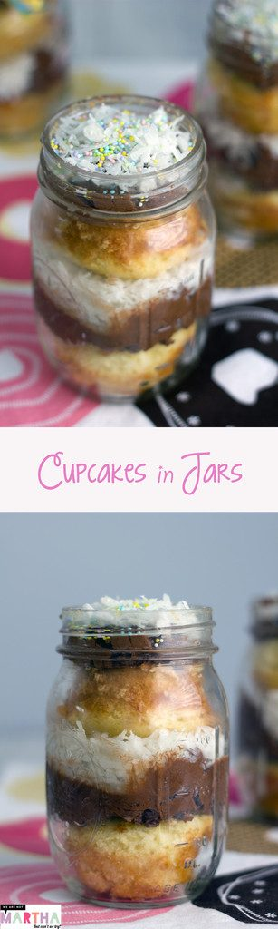 Cupcakes in Jars - You'll want to eat this Coconut Chocolate Buttercream version with a spoon! | wearenotmartha.com