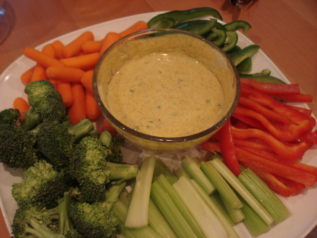 curry dip with fresh veggies