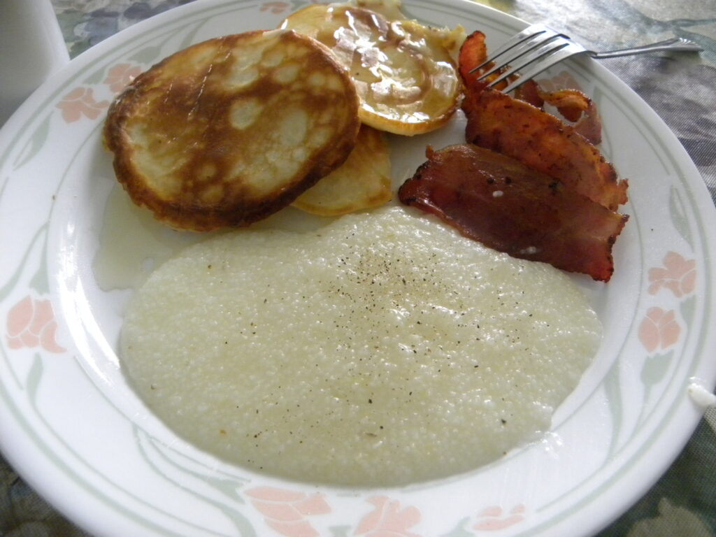 pancakes, bacon, grits