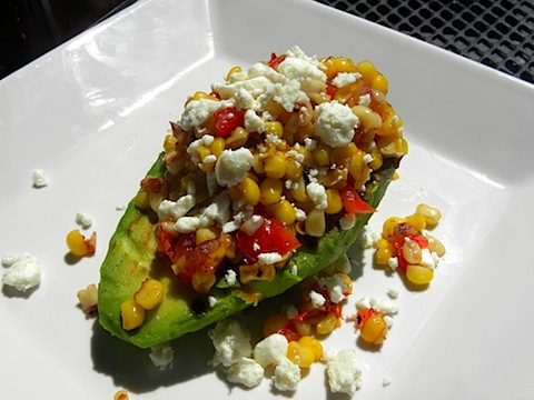 Grilled Avocado with Tomato and Corn Salsa