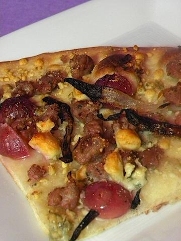 Sausage, Grape, and Gorgonzola Flatbread