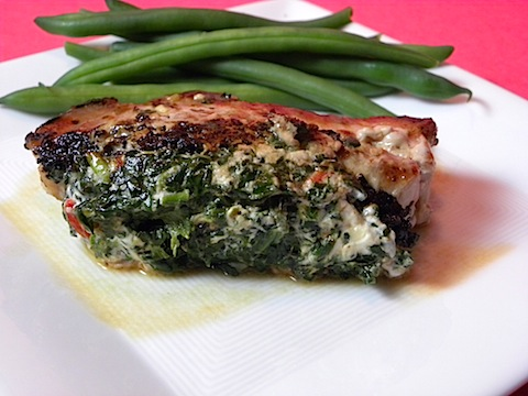 Spinach And Goat Cheese Stuffed Pork Chops Recipe — Dishmaps