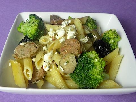 Mediterranean Pasta with Chicken Sausage, Olives, Broccoli, and Feta