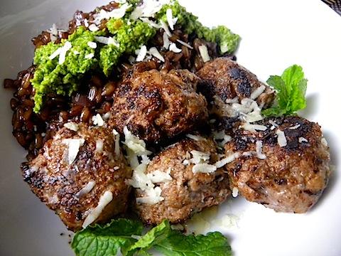 Lamb And Mint Meatballs With Farro Risotto And Cilantro Pesto Recipes ...