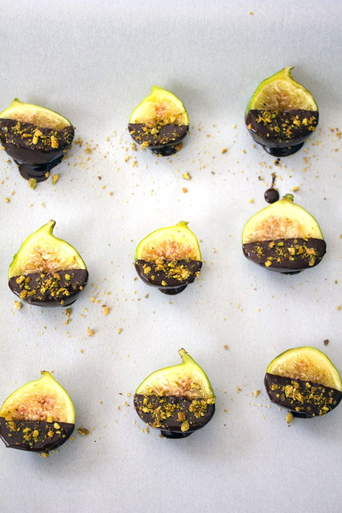Dark Chocolate-Dipped Figs with Gorgonzola Cheese -- A dreamy late summer/early fall appetizer or dessert | wearenotmartha.com