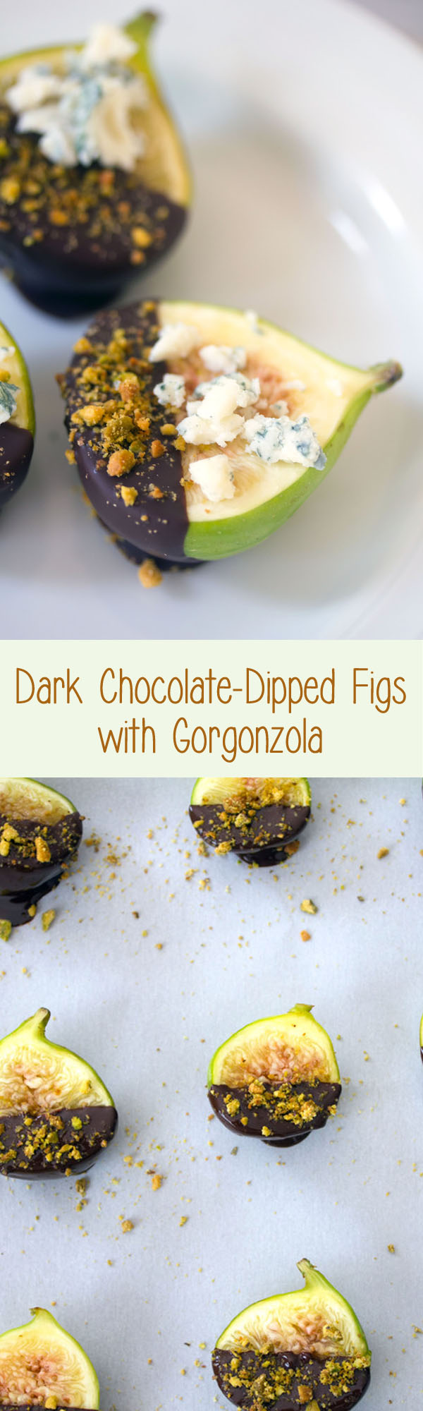 Chocolate Figs with Gorgonzola -- Whether these Dark Chocolate-Dipped Figs with Gorgonzola Cheese are served as an appetizer or dessert, your guests will fall in love. The ingredients are simple, but they all work so well together | wearenotmartha.com #figs #chocolate #gorgonzola #dessert #appetizer