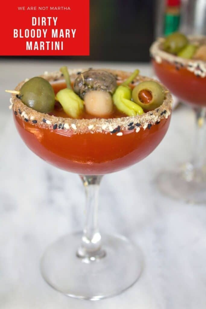 Dirty Bloody Mary Martini -- This vodka cocktail is a delicious cross between a bloody mary and a dirty martini! | wearenotmartha.com #bloodymary #dirtmartini #vodkacocktails