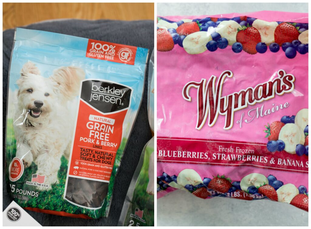 A collage showing Pork and Berry Link treat bag and large bag of Wyman's of Maine berries
