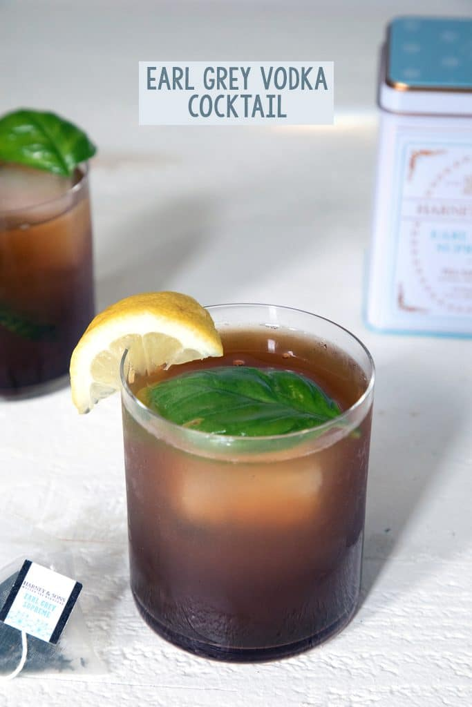 Earl Grey Vodka Cocktail -- This cocktail mixes tea-infused vodka with cranberry juice, lemon juice, and smashed basil for a simultaneously refreshing and warming drink | wearenotmartha.com