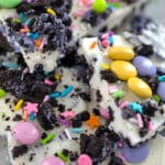 Close-up view of Easter Oreo Bark with M&Ms, white chocolate, and sprinkles