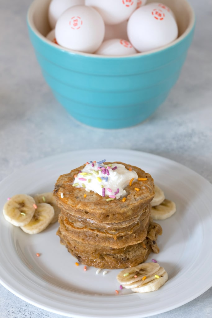 Egg, Apple, and Banana Pancakes for dogs -- Let your dog come to the breakfast table with you! | wearenotmartha.com