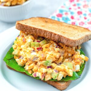 Crunchy Egg Salad -- Egg salad is always a good idea, but to make it a little more exciting, add a flavorful mayo dressing, celery, apple, and red onion... It's Egg Salad with Lots of Crunch! | wearenotmartha.com