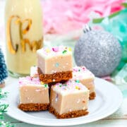 Eggnog Cookie Dough Bars -- Eggnog Cookie Dough Bars are easy no-bake desserts perfect for serving as a holiday dessert or for including on your Christmas cookie platters! | wearenotmartha.com #cookiedough #cookiedoughbars #eggnogdesserts #christmascookies #holidaydesserts