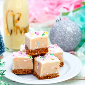 Eggnog Cookie Dough Bars -- Eggnog Cookie Dough Bars are easy no-bake desserts perfect for serving as a holiday dessert or for including on your Christmas cookie platters!   wearenotmartha.com #cookiedough #cookiedoughbars #eggnogdesserts #christmascookies #holidaydesserts