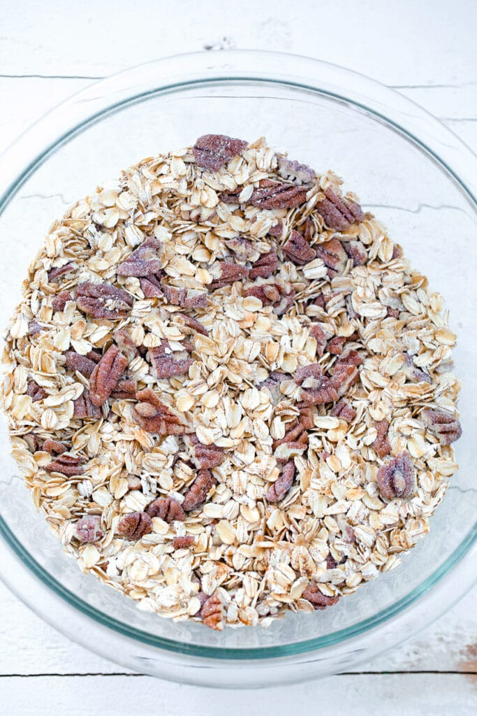 Oats, wheat germ, pecans, and spices in large bowl