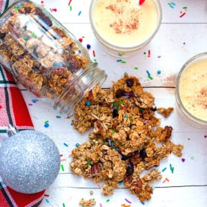 This Eggnog Granola is the perfect way to sneak seasonal drink in at breakfast time! Don't worry; it's packed with heart-healthy grains and nuts and has a light eggnog flavor.