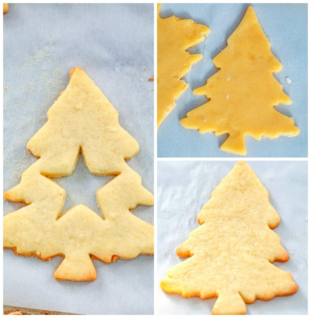 Collage showing process for making Christmas tree-shaped linzer cookies, including dough cut into Christmas tree shapes, Christmas tree cookies baked, and Christmas tree cookie that's baked with star cutout in middle
