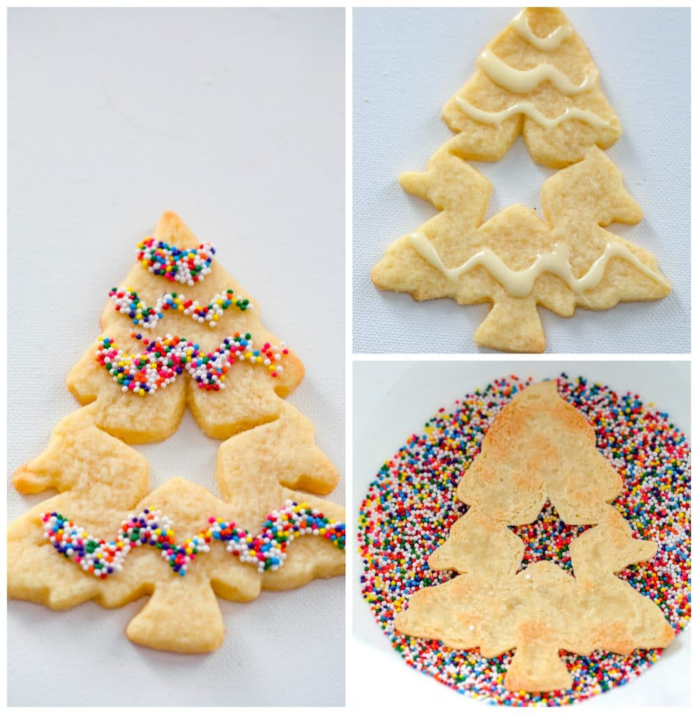 Collage showing process for decorating Christmas tree-shaped eggnog linzer cookies, including cookie with eggnog icing drizzled over it, cookie being dunked upside-down in sprinkles, and cookie with star cutout decorated in sprinkles
