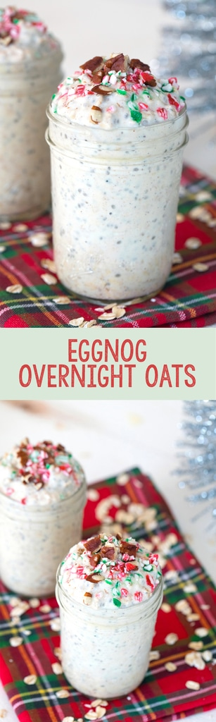 Eggnog Overnight Oats -- Eggnog season is short lived, so you better fit it in while you can! These Eggnog Overnight Oats give you the perfect excuse to indulge in eggnog for breakfast | wearenotmartha.com #eggnog #christmas #holidays #overnightoats #breakfast