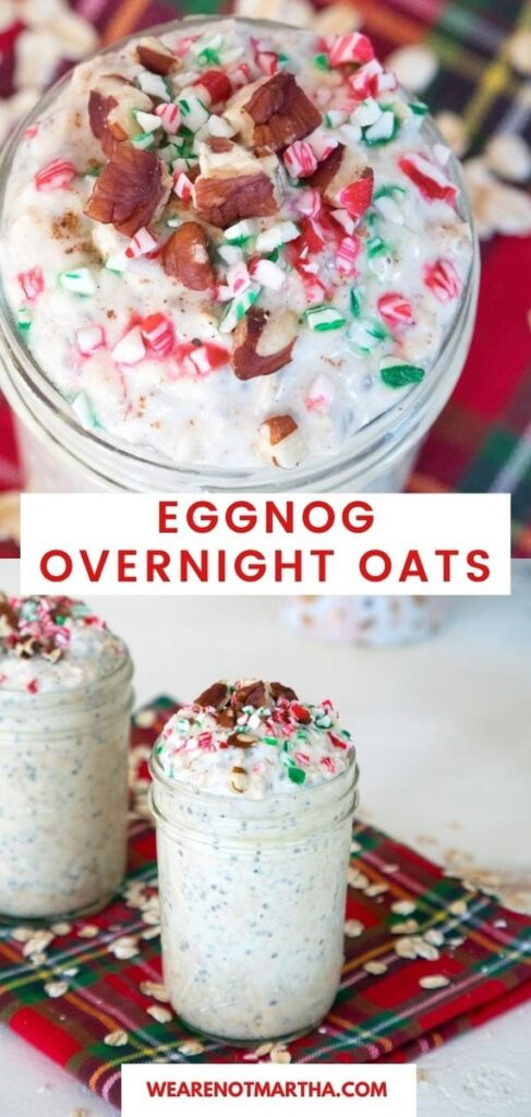 You deserve a festive holiday season breakfast and these eggnog overnight oats are the perfect morning treat! | wearenotmartha.com #eggnog #eggnogrecipes #overnightoats #easybreakfasts