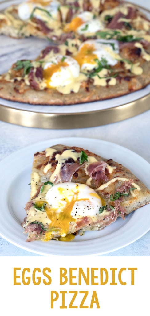 Eggs Benedict Pizza -- What could be better than combining two of the best foods on Earth into an Eggs Benedict Pizza? Packed with prosciutto, hollandaise sauce, and perfectly cooked eggs, you'll fall in love with this brunch pizza | wearenotmartha.com #eggsbenedict #pizza #brunch #sousvide #hollandaise