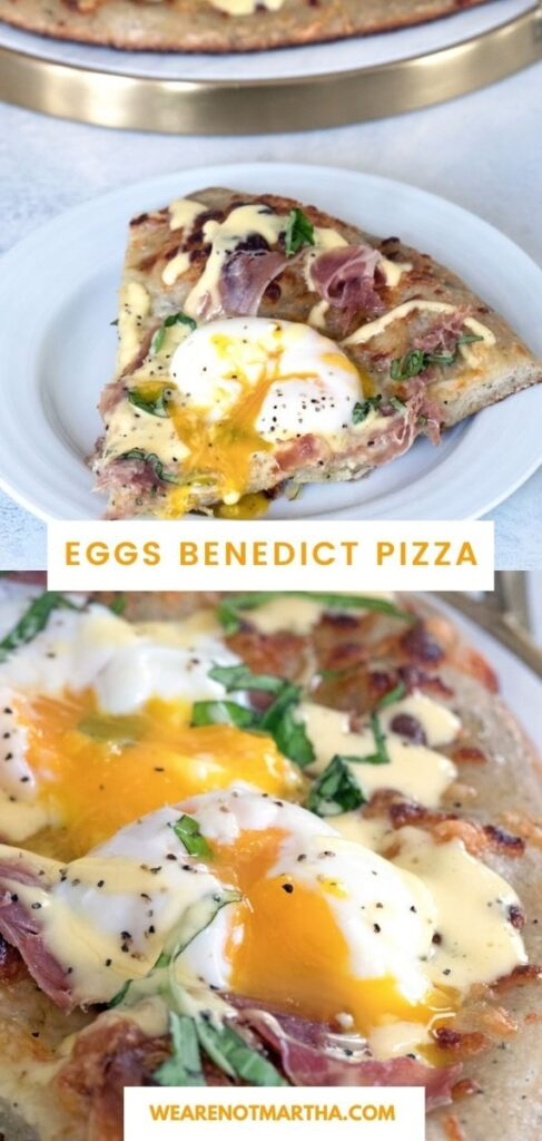 You'll want brunch every day with this Eggs Benedict Pizza!   wearenotmartha.com #eggsbenedict #pizza #brunchpizza #brunchrecipes #eggs