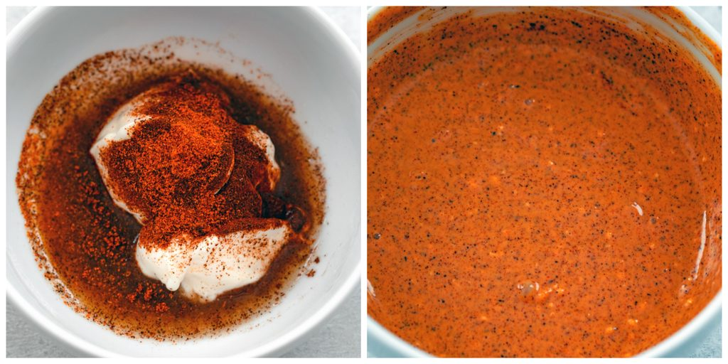 Collage showing process for making elote dressing, including overhead view of ingredients (mayo, cayenne, chili powder, and lime juice) in white bowl and overhead view of all the ingredients mixed together into a dressing