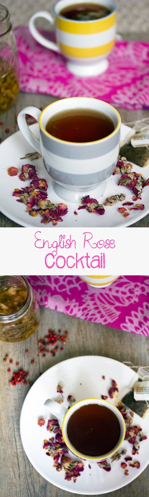 English Rose Cocktail -- This English Rose Cocktail combines rose-infused vodka, pink peppercorn simple syrup, and black tea for the most perfectly warming winter tea cocktail | wearenotmartha.com #cocktail #teacocktail #vodka #rose #rosevodka #tea