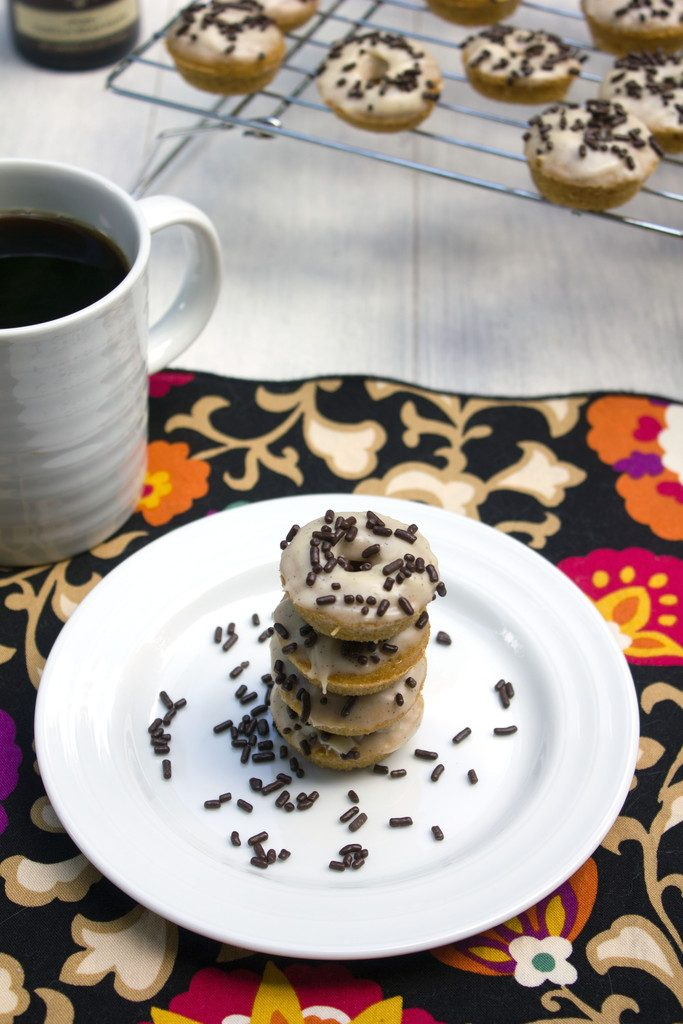 Espresso Doughnuts with Vanilla Sweet Cream Icing -- Mini doughnuts that taste like the Starbucks drink! | wearenotmartha.com