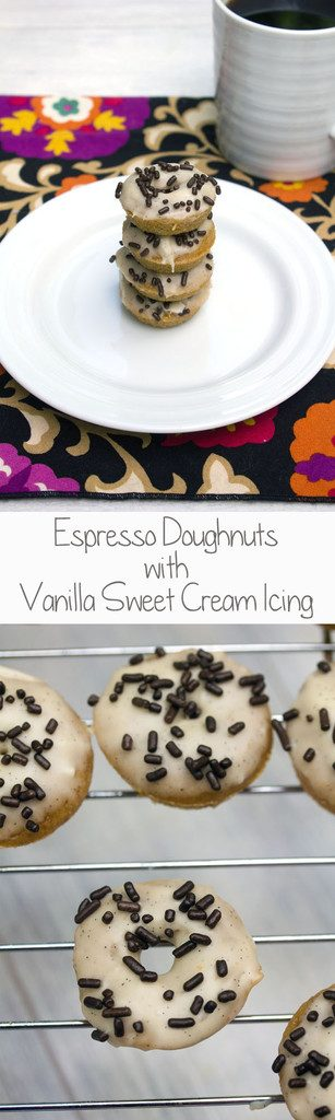 Espresso Doughnuts with Vanilla Sweet Cream Icing -- Mini doughnuts that taste like the Starbucks drink! | wearenotmartha.com
