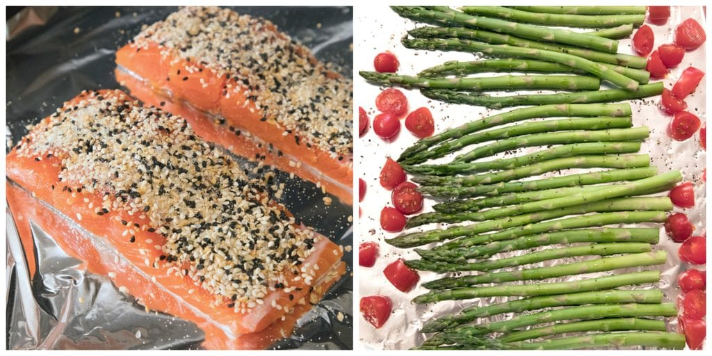 Collage showing process for making this dinner, including salmon filets coated with everything bagel spice on a baking sheet and asparagus and grape tomatoes on a baking sheet for cooking.