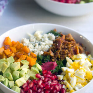 Fall Cobb Salad with Cranberry Dressing -- A cobb salad packed with nutrition and indulgence | wearenotmartha.com