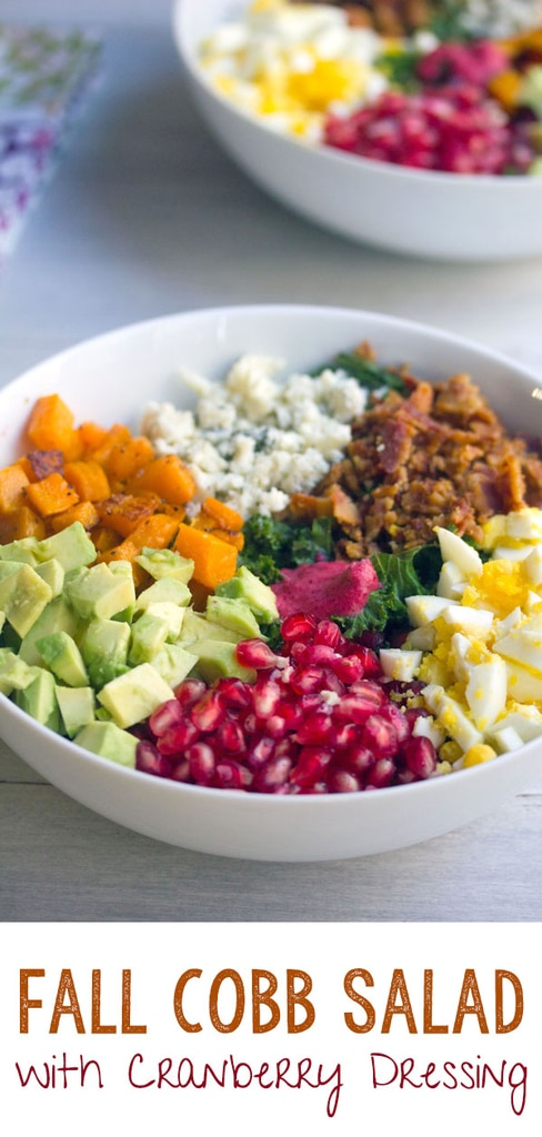 Fall Cobb Salad with Cranberry Dressing -- With kale, butternut squash, hardboiled egg, pomegranate, cranberry dressing, and more, this Fall Cobb Salad is the perfect balance of healthy and indulgent! | wearenotmartha.com #salads #cobbsalad #fall #healthy #cranberry