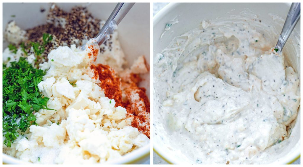 Collage showing process for making feta sauce, including Greek yogurt, crumbled feta, spices, and parsley in bowl and all ingredients mixed together