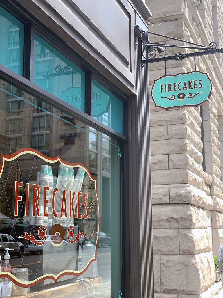 View outside of Firecakes shop in Chicago's West Loop
