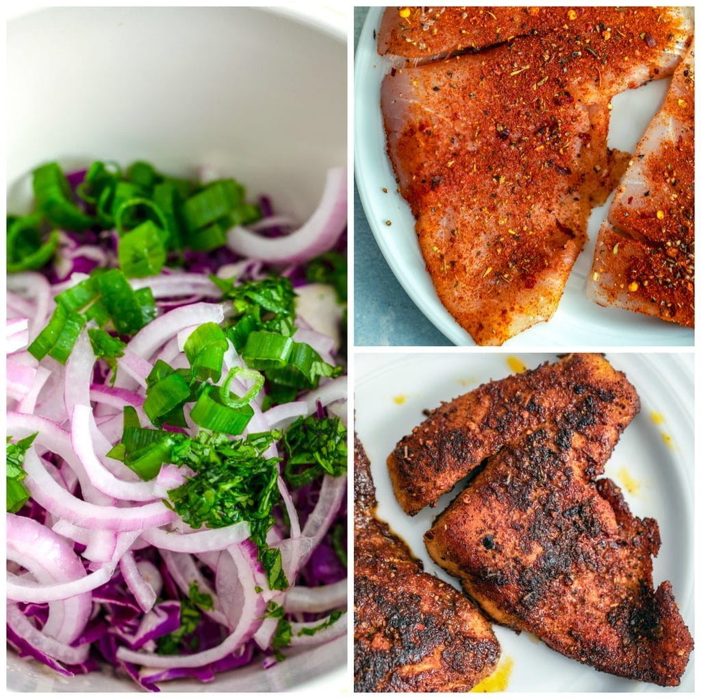 Collage showing barramundi rubbed with cajun spices, barramundi cooked, and bowl of slaw with red cabbage, red onion, scallions, and cilantro