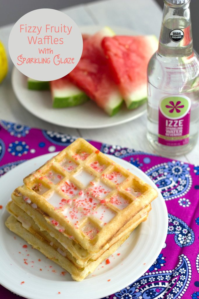 Fizzy Fruity Waffles with Sparkling Glaze -- Waffles made with sparkling water and Pop Rocks! | wearenotmartha.com