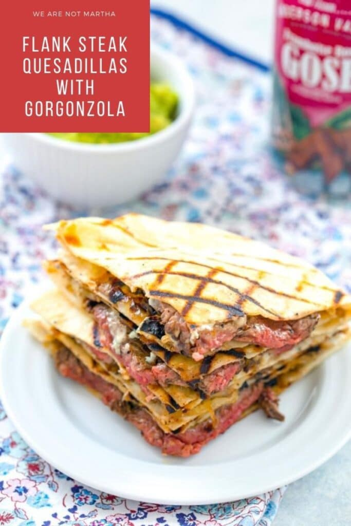 These Flank Steak Quesadillas are made with deliciously marinated flank steak, sharp gorgonzola cheese, and caramelized onions and jalapeños | wearenotmartha.com #quesadillas #steakquesadillas #flanksteak #easydinners #mexicanfood